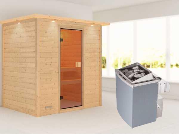 """Sauna Massivholzsauna """"Sonja"""" mit Dachkranz, bronzierte Ganzglastür + 9 kW Saunaofen mit Steuerung"""