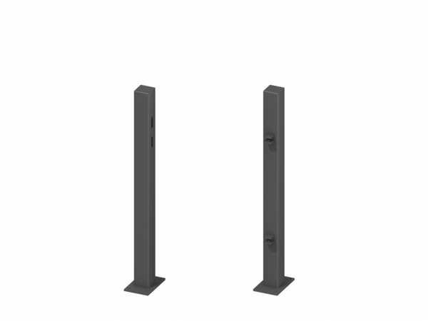 Torpfosten für Einzeltor (2er-Set), Metall, Anthrazit