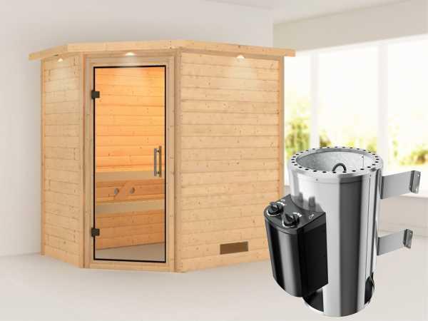 Sauna Massivholzsauna Cilja mit Dachkranz, Klarglas Ganzglastür + Plug & Play Ofen mit Steuerung