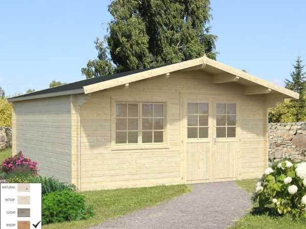 Gartenhaus Blockbohlenhaus Britta 19,7 m² 40 mm braun tauchimprägniert