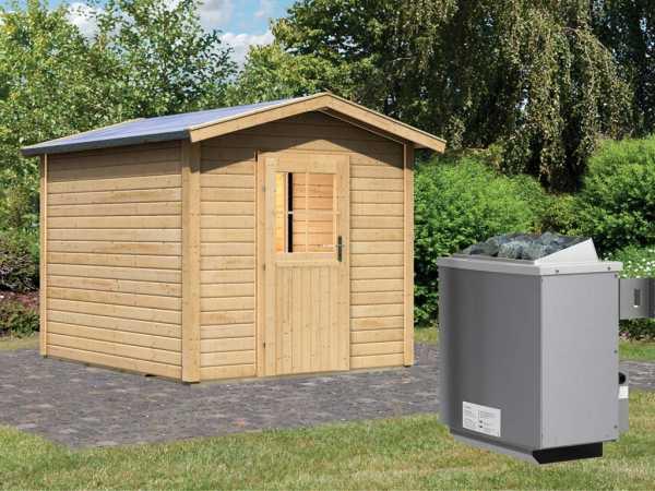 Saunahaus Birka 1 mit Holztür & Vorraum, inkl. 9 kW Saunaofen mit integrierter Steuerung