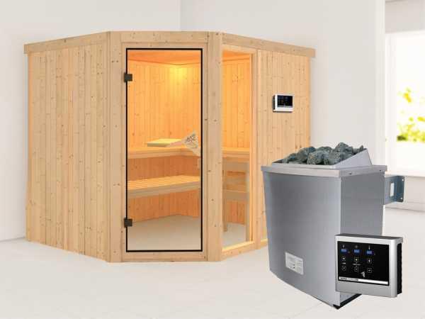Sauna Systemsauna Fiona 3 inkl. 9 kW Saunaofen ext. Steuerung