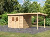Gartenhaus SET Kerpen 3 CLASSIC 28 mm naturbelassen, inkl. 2,6 m Anbaudach