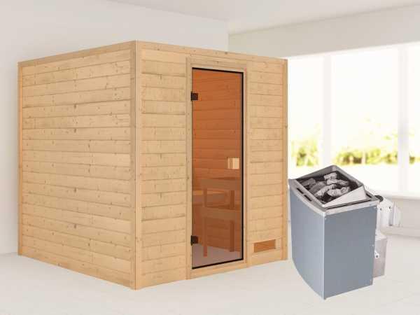 """Sauna """"Jara"""" mit bronzierter Glastür + 9 kW Saunaofen integr. Strg."""