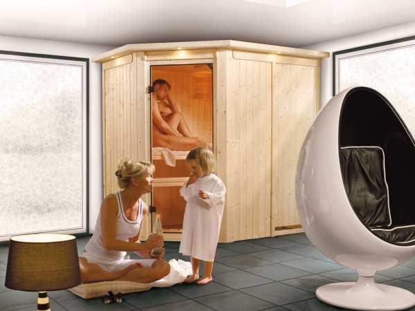 Sauna Systemsauna Saja mit Dachkranz