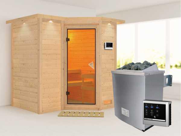 Massivholzsauna Sahib 1 mit Dachkranz, bronzierte Ganzglastür, inkl. 9 kW Ofen ext. Steuerung