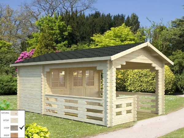 "Gartenhaus Blockbohlenhaus ""Sylvi"" 6,1+10,6 m² 44 mm grau tauchimprägniert"