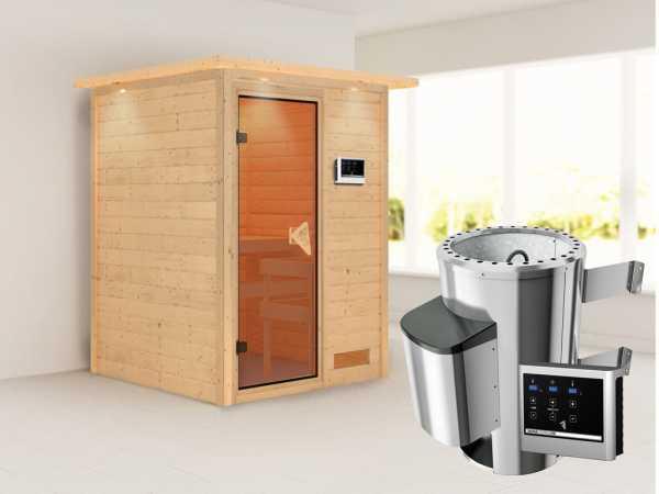 Sauna Massivholzsauna Nadja mit Dachkranz, inkl. Plug & Play Saunaofen externe Steuerung