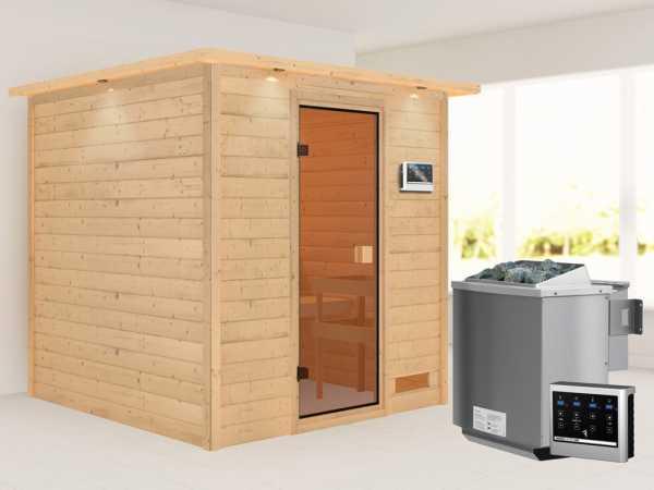 Sauna Jara mit bronzierter Glastür und Dachkranz + 9 kW Bio-Kombiofen ext. Strg.