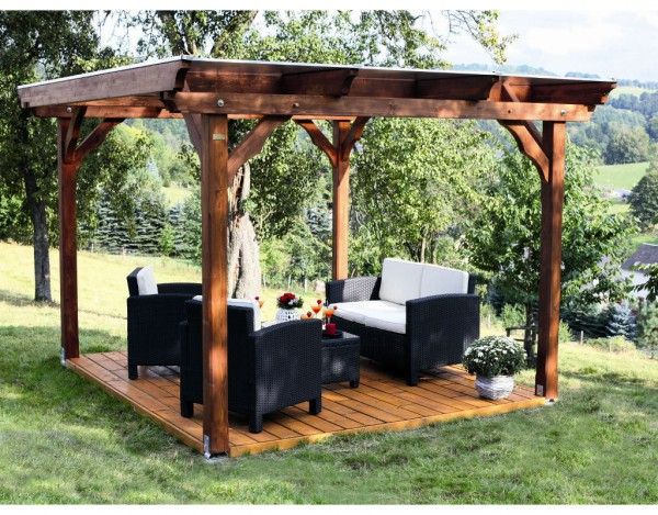 pavillon marseille 4 eckig holzpavillon garten holzprofi24. Black Bedroom Furniture Sets. Home Design Ideas