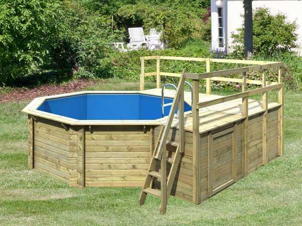 Pool Holzpool Modell E 1 mit großer Sonnenterrasse + Geländer, kesseldruckimprägniert