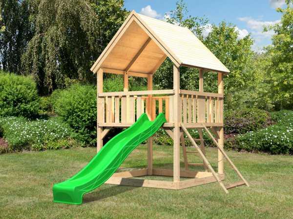 """Spielturm """"Luis"""" naturbelassen, inkl. 2,5 m Wellenrutsche grün + Netzrampe, Satteldach"""
