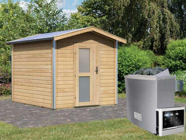 Saunahaus Bosse 1 mit Milchglastür & Vorraum, inkl. 9 kW Saunaofen mit externer Steuerung