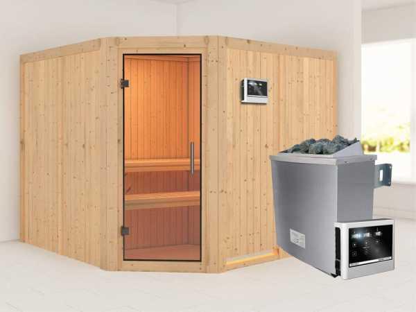 """Sauna Systemsauna """"Farin"""" Klarglas Ganzglastür + 9 kW Saunaofen mit ext. Strg"""