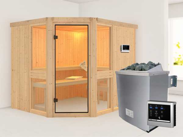 Sauna Systemsauna SPARSET Biwa inkl. 9 kW Saunaofen mit ext. Steuerung, bronzierte Glastür