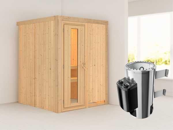 Sauna Systemsauna Minja Energiespartür + Plug & Play Saunaofen mit Steuerung