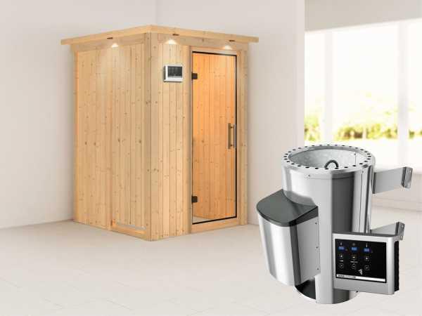 Sauna Systemsauna Lenja mit Dachkranz, Klarglas Ganzglastür + Plug & Play Saunaofen mit ext.Strg