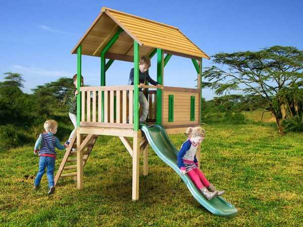 Spielturm Bogo braun/grün mit grüner Rutsche