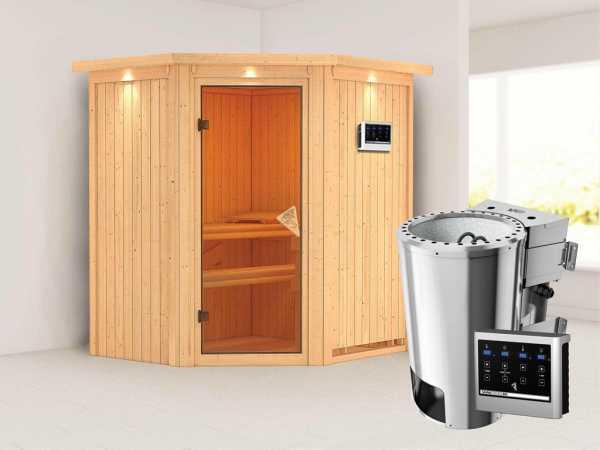 Sauna Systemsauna Tonja mit Dachkranz, inkl. Plug & Play Bio-Ofen externe Steuerung