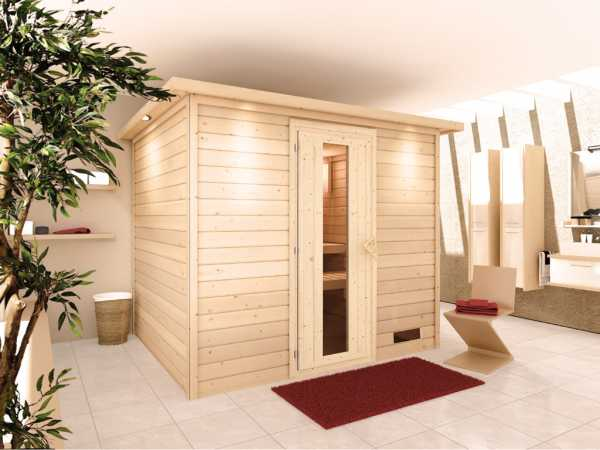 Sauna Massivholzsauna Karla mit Dachkranz, Holztür mit Isolierglas