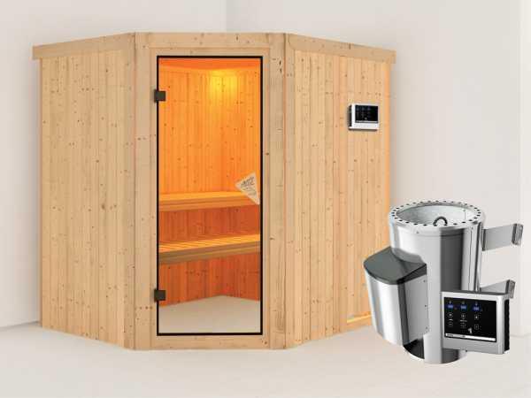 Sauna Systemsauna Lilja inkl. Plug & Play Saunaofen externe Steuerung