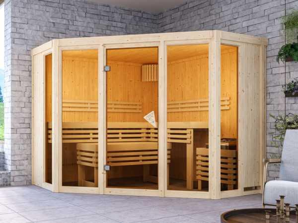 Sauna Alcinda mit bronzierter Glastür + 9 kW Saunaofen integr. Strg.