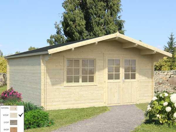 "Gartenhaus Blockbohlenhaus ""Britta"" 19,7 m² 40 mm transparent tauchimprägniert"