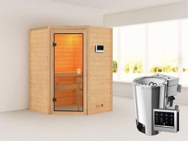 Sauna Antonia mit bronzierter Glastür + 3,6 kW Plug & Play Bio-Ofen ext. Strg.