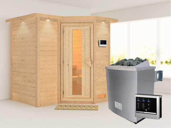Massivholzsauna Sahib 1mit Dachkranz, Holztür mit Isolierglas, inkl. 9 kW Ofen ext. Steuerung