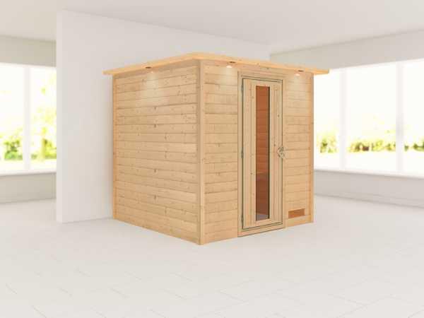 """Sauna Massivholzsauna """"Nora"""" mit Dachkranz, Holztür mit Isolierglas"""
