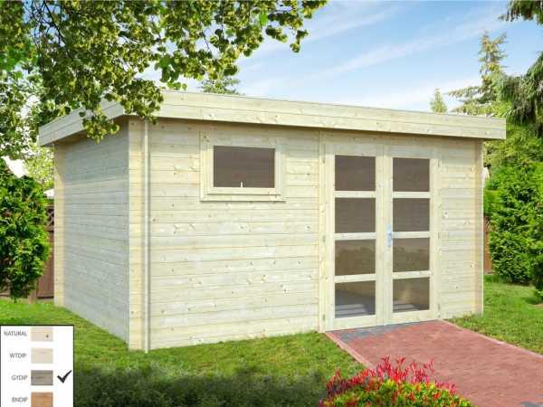 Gartenhaus Blockbohlenhaus Elsa 11,3 m² 28 mm grau tauchimprägniert
