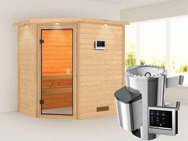 Sauna Jella mit bronzierter Glastür und Dachkranz + 3,6 kW Plug & Play Saunaofen ext. Strg.