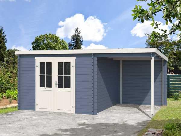 Gartenhaus Blockbohlenhaus Tampa 28 mm taubenblau