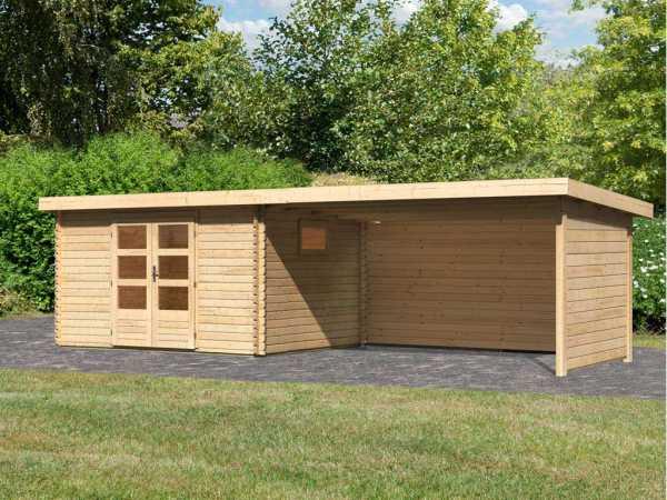 Gartenhaus Blockbohlenhaus SET Trittau 4 38 mm naturbelassen, inkl. 4 m Anbaudach + Seiten-/Rückwand