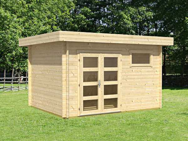 gartenhaus blockbohlenhaus lille 40 mm naturbelassen flachdach gartenhaus garten. Black Bedroom Furniture Sets. Home Design Ideas
