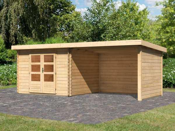 Gartenhaus Blockbohlenhaus SET Bastrup 5 28 mm naturbelassen, inkl. 3 m Anbaudach + Seiten-/Rückwand