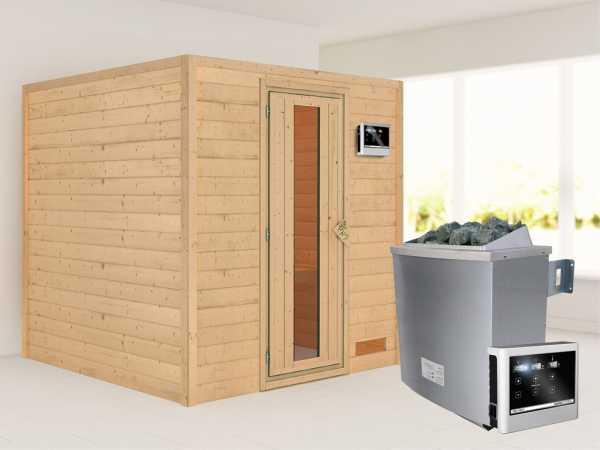 """Sauna Massivholzsauna """"Nora"""" Energiespartür + 9 kW Saunaofen mit ext. Strg"""