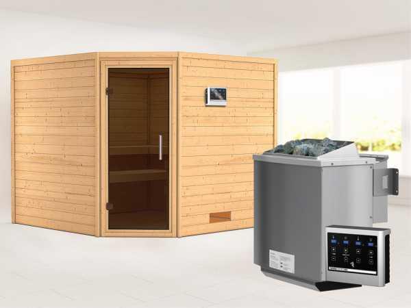 Sauna Massivholzsauna Leona graphit Ganzglastür + 9 kW Bio-Kombiofen mit ext. Strg