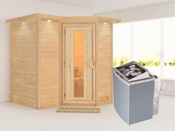 """Massivholzsauna """"Sahib 1"""" mit Dachkranz, Holztür mit Isolierglas, inkl. 9 kW Ofen integr. Steuerung"""