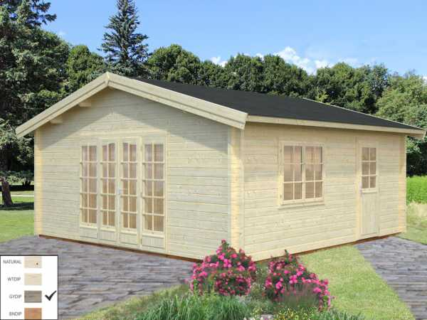 Gartenhaus Blockbohlenhaus Irene 27,7 m² 70 mm grau tauchimprägniert