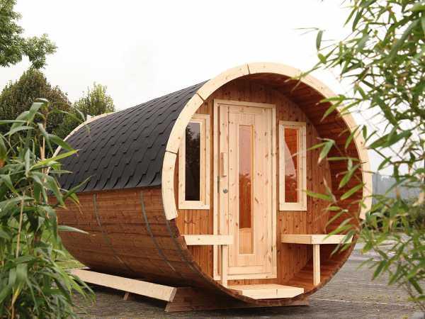 """Campingfass """"480 2-Raum"""" naturbelassen, komplett montiert, inkl. Dachschindlen schwarz"""