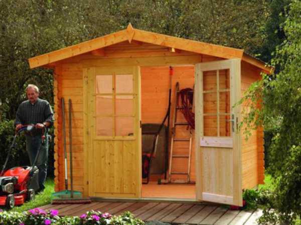 Gartenhaus Blockbohlenhaus Bibertal 28-A 28 mm naturbelassen