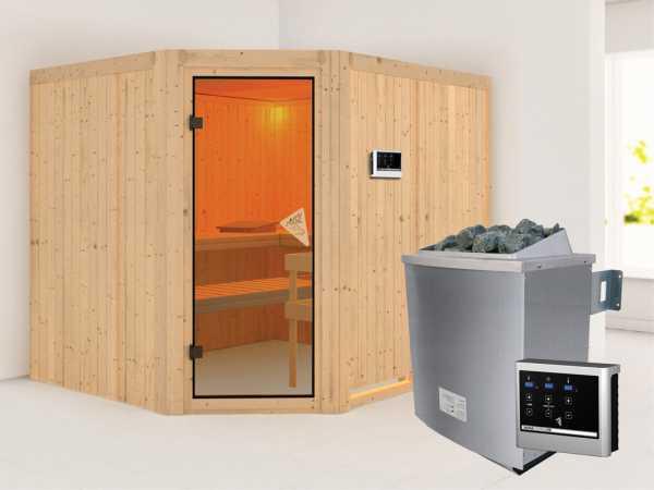 Systemsauna Malin bronzierte Ganzglastür, inkl. 9 kW Saunaofen ext. Steuerung
