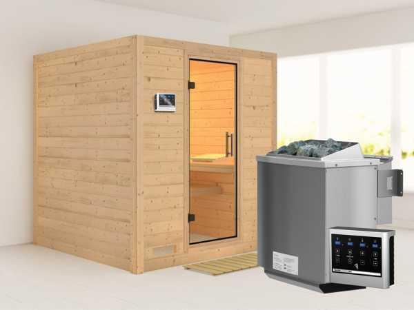 Sauna Massivholzsauna SPARSET Fucata inkl. 9 kW Bio-Kombiofen mit ext. Steuerung, klare Glastür
