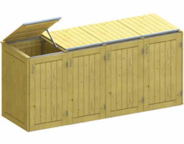 Mülltonnenbox für 4 Behäter, Nadelholz