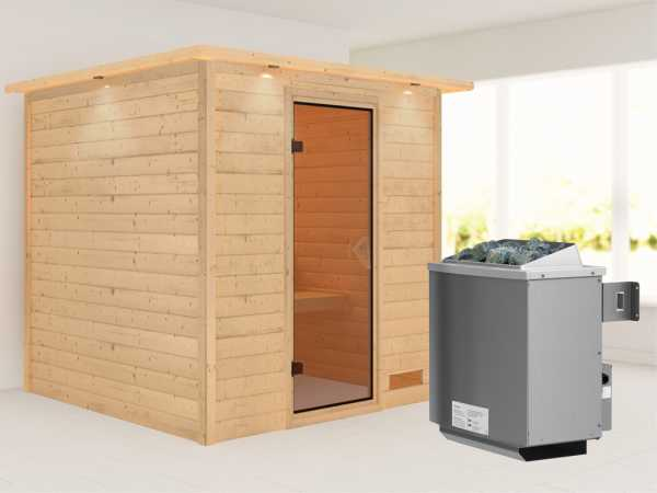 """Sauna Massivholzsauna """"Nora"""" mit Dachkranz, bronzierte Ganzglastür + 9 kW Saunaofen mit Steuerung"""
