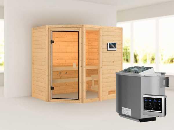 Sauna Jada mit bronzierter Glastür + 9 kW Bio-Kombiofen ext. Strg.