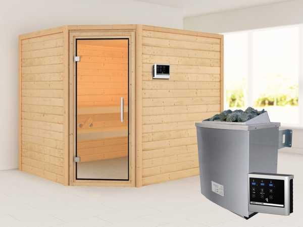 """Sauna """"Lisa"""" mit Klarglastür + 9 kW Saunaofen ext. Strg."""
