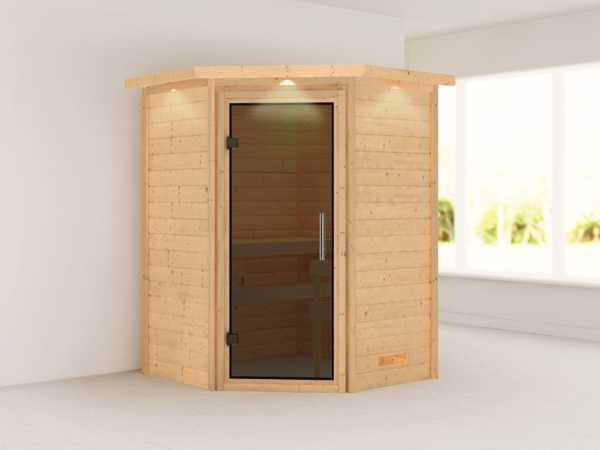 Sauna Massivholzsauna Franka mit Dachkranz, graphit Ganzglastür