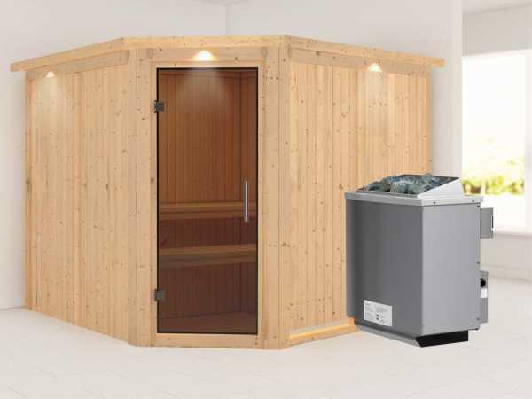 """Sauna Systemsauna """"Farin"""" mit Dachkranz, graphit Ganzglastür + 9 kW Saunaofen mit Steuerung"""